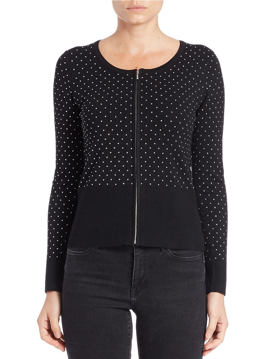 Lyst Lord Taylor Studded Jersey Cardigan In Black