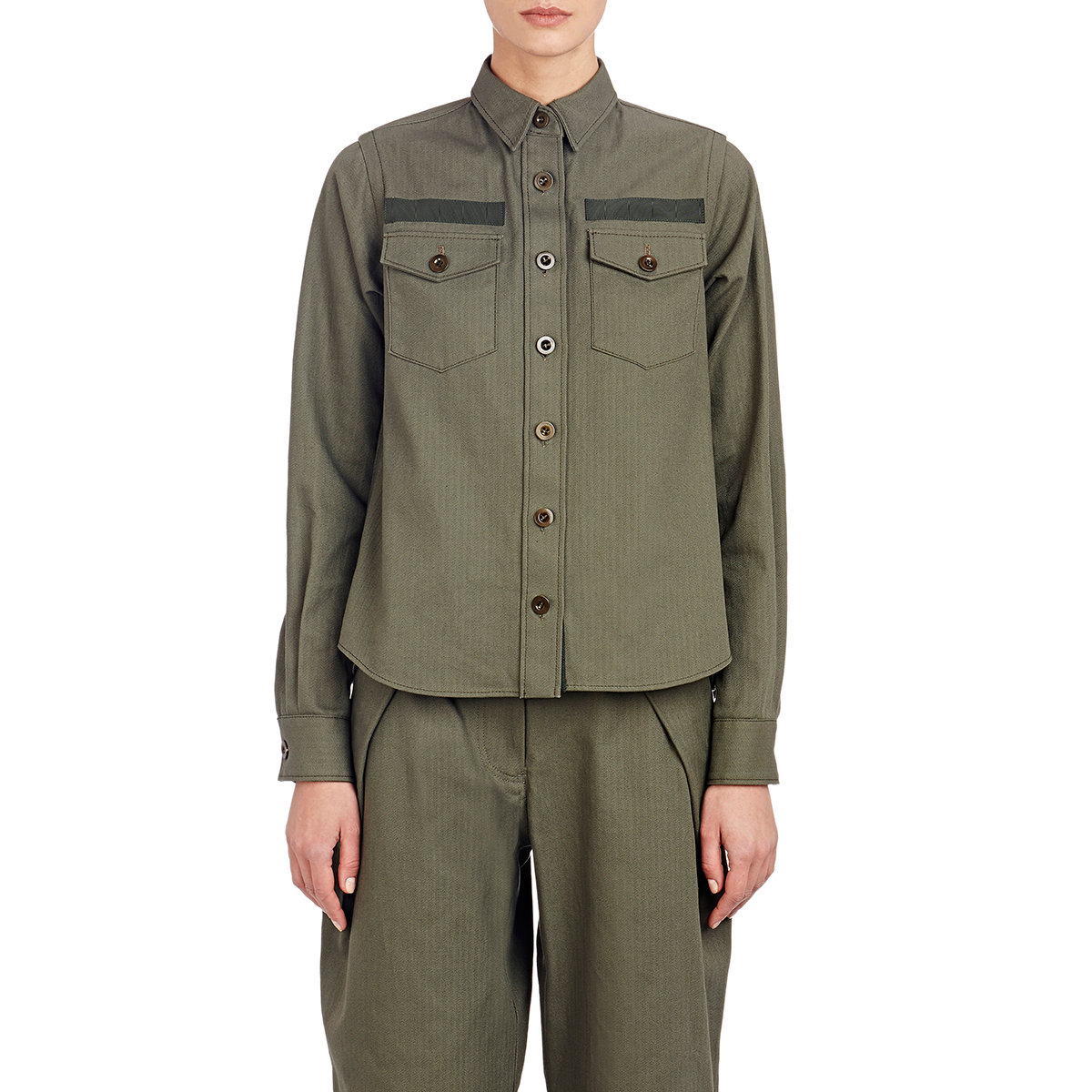 Sacai luck Flared-back Military Shirt Jacket in Green | Lyst