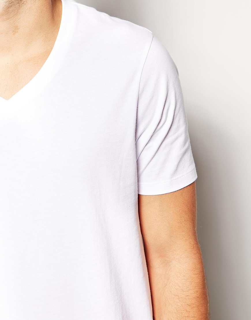 Lyst asos t shirt with v neck and relaxed fit in white Relaxed fit women s v neck t shirt