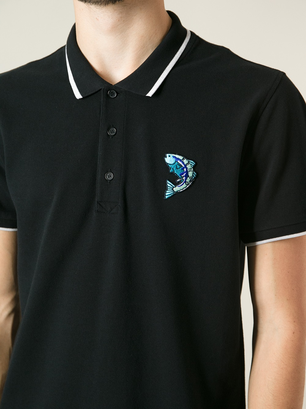 lyst kenzo fish polo shirt in black for men