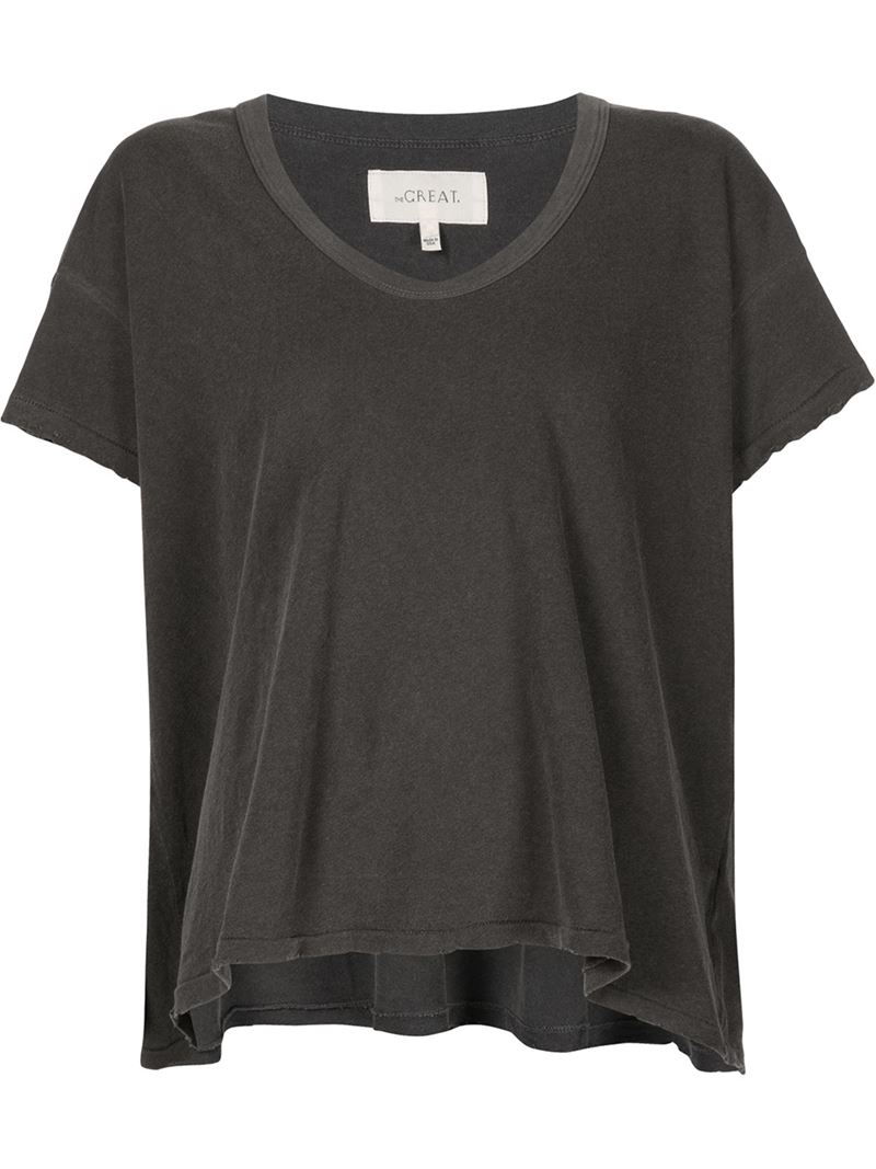 The great 39 the u neck 39 t shirt in gray lyst The great t shirt