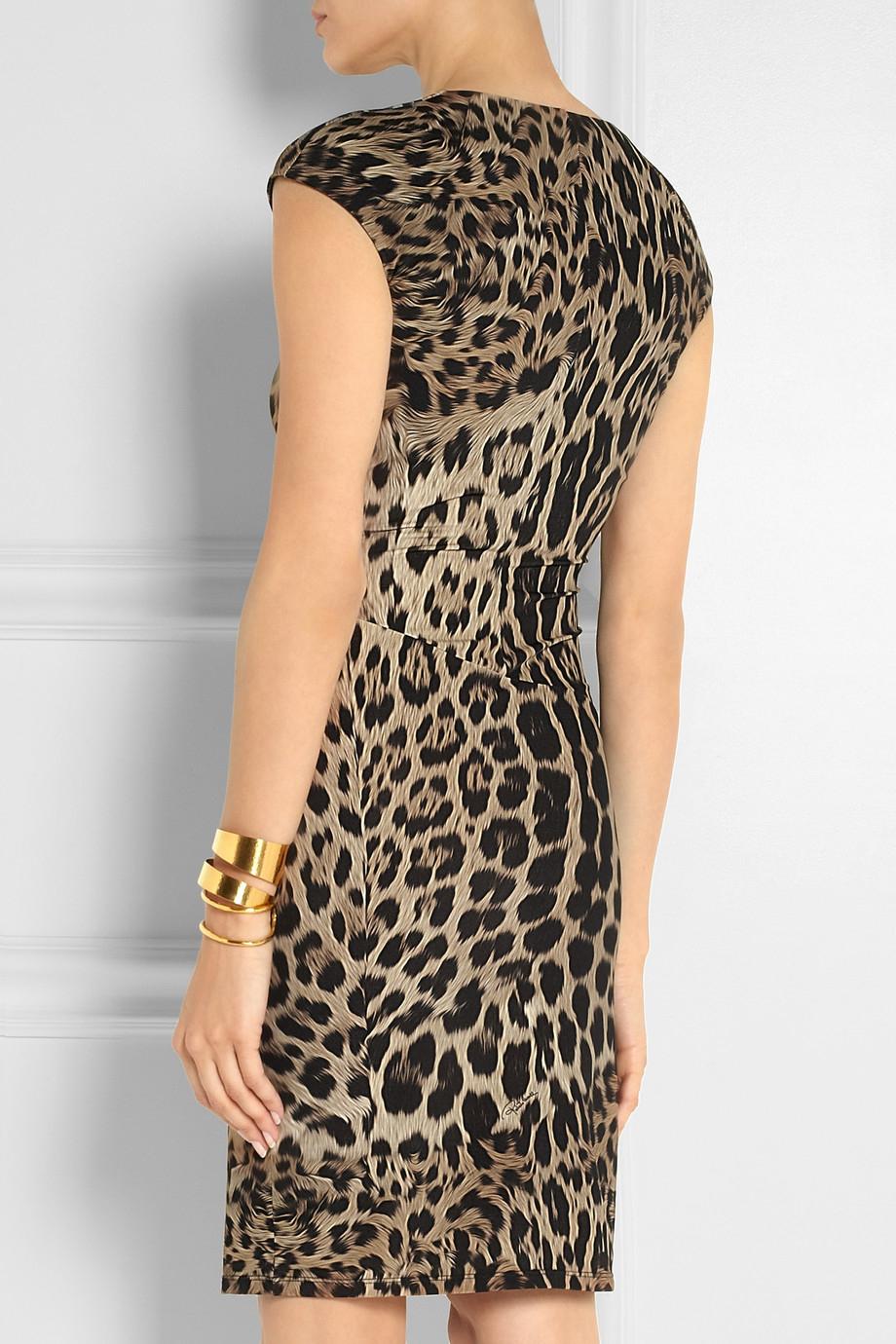01540a134c3a3 Roberto Cavalli Leopard-Print Stretch-Jersey Dress - Lyst