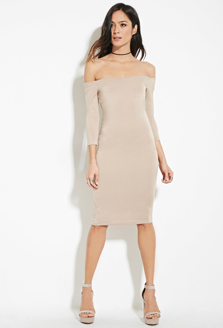 a49a2229e341 Lyst - Forever 21 Off-the-shoulder Bodycon Dress in Brown