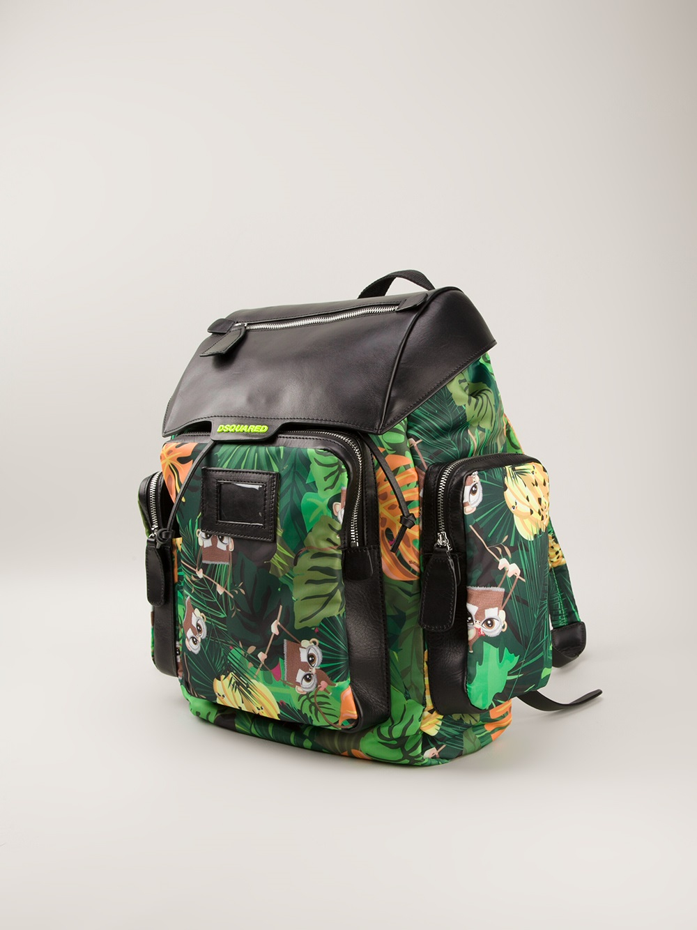 DSquared² Monkey Jungle Print Backpack in Green for Men