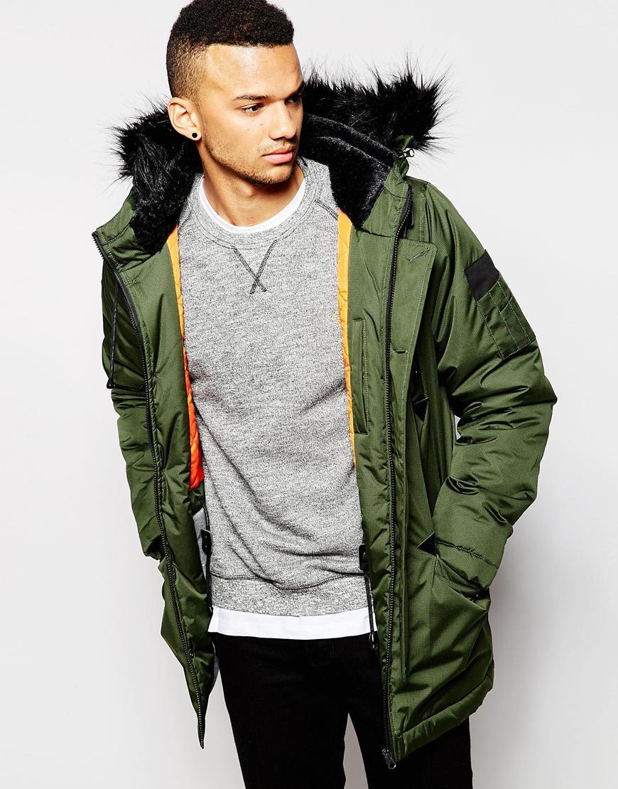 D-struct Coulton Faux Fur Trimmed Parka Jacket in Green for Men | Lyst