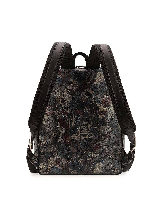 Lyst - Ferragamo Plume Feather-print Backpack in Gray for Men 34360ba420