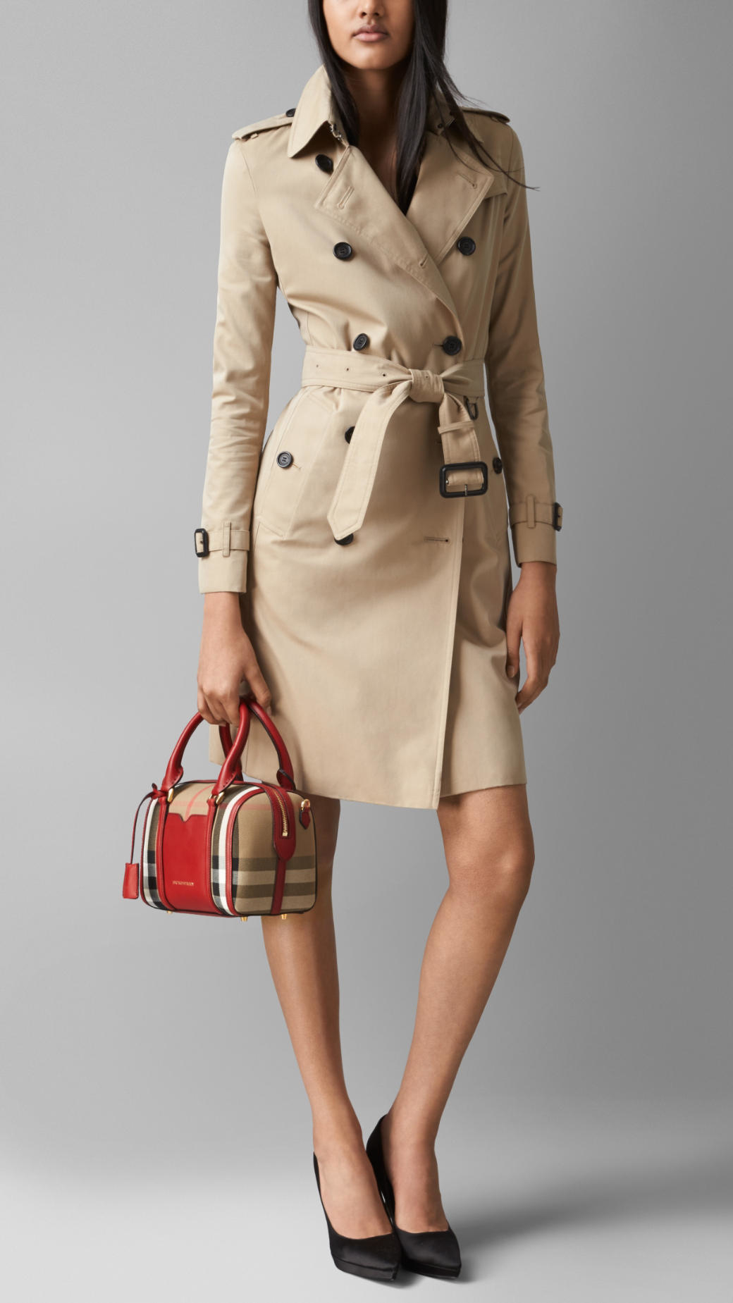 16b183f19dec Burberry The Small Alchester In House Check And Leather in Red - Lyst