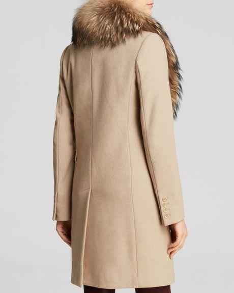 Sam Crosby Wool Coat With Fur Trim In Brown Camel Lyst