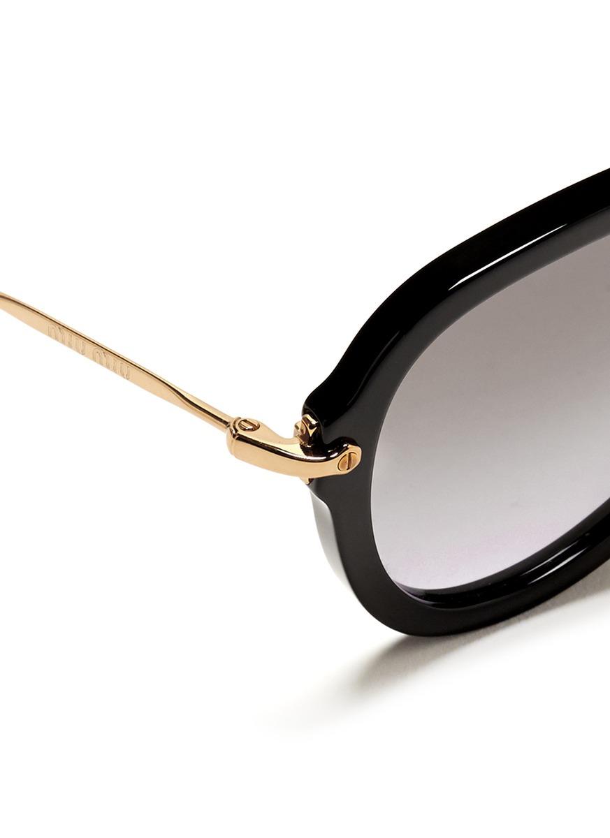 ca59e340839d Lyst - Miu Miu Metal Temple Aviator Frame Sunglasses in Black