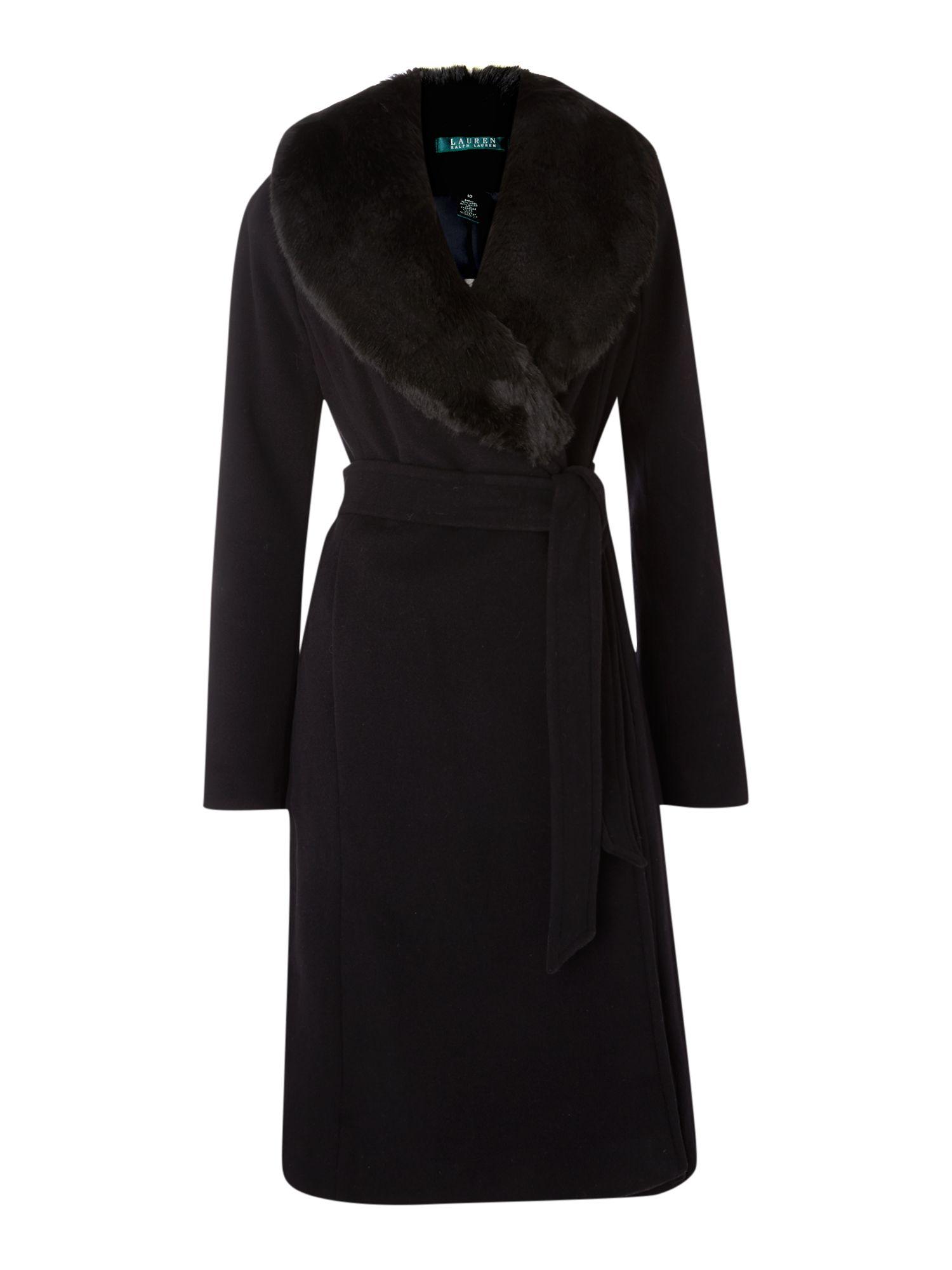 Lauren By Ralph Lauren Faux Fur Collar Wrap Wool Coat In