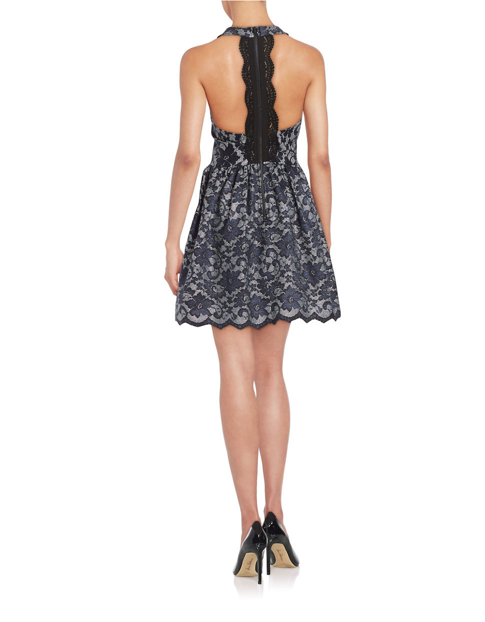 Lord Taylor Halter Lace Fit And Flare Dress In Navy