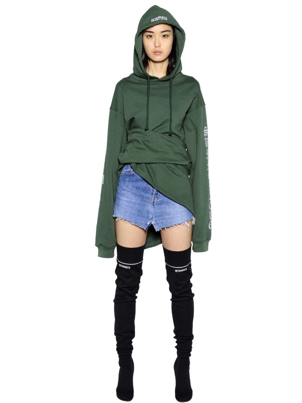 Lyst Vetements Logo Hooded Cotton Jersey Sweatshirt In Green