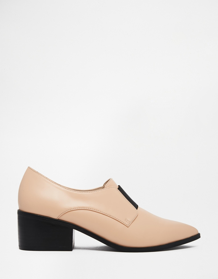 481ac6515431 Lyst - ASOS Socially Pointed Loafer Heels in Natural