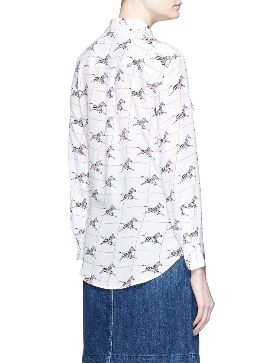 Equipment 39 slim signature 39 zebra print silk shirt in white for Equipment black silk shirt