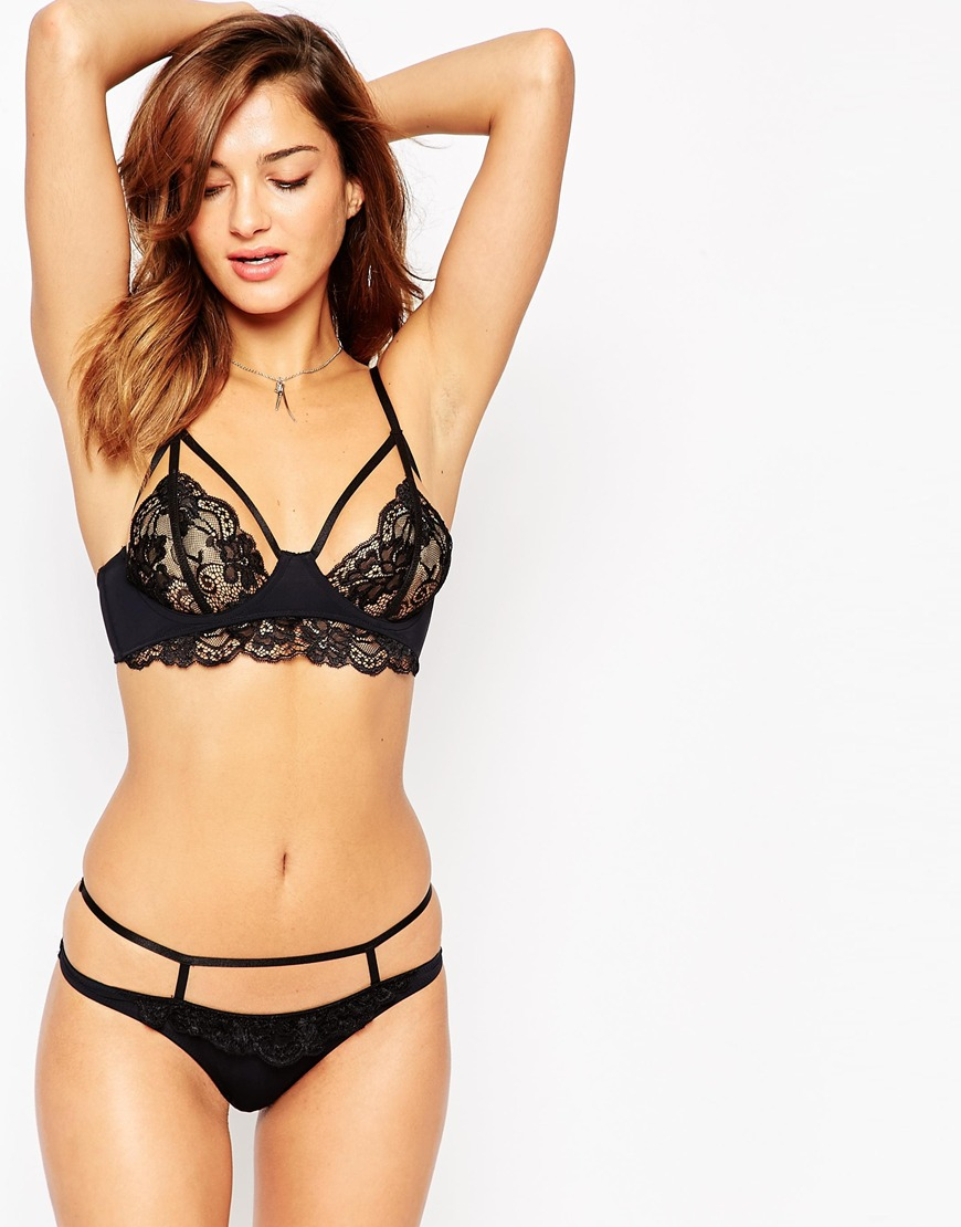 f53502626 ASOS Angelika Caged Thong in Black - Lyst