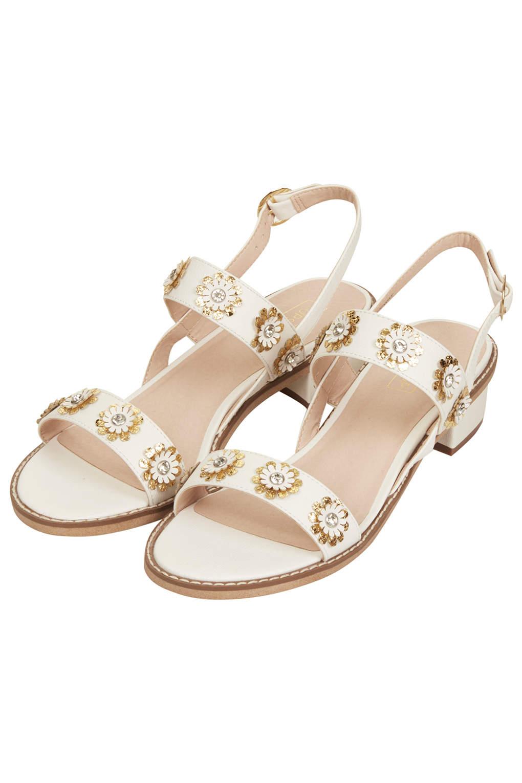 Lyst Topshop Honeymoon Flower Sandals In White
