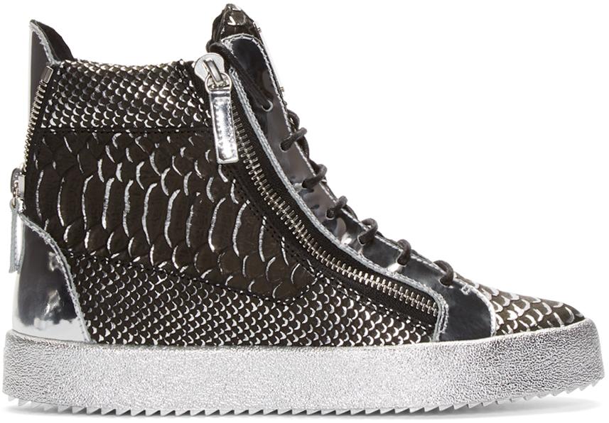 Giuseppe Zanotti Patent Croc May London High-Top Sneakers GrGhL38Z
