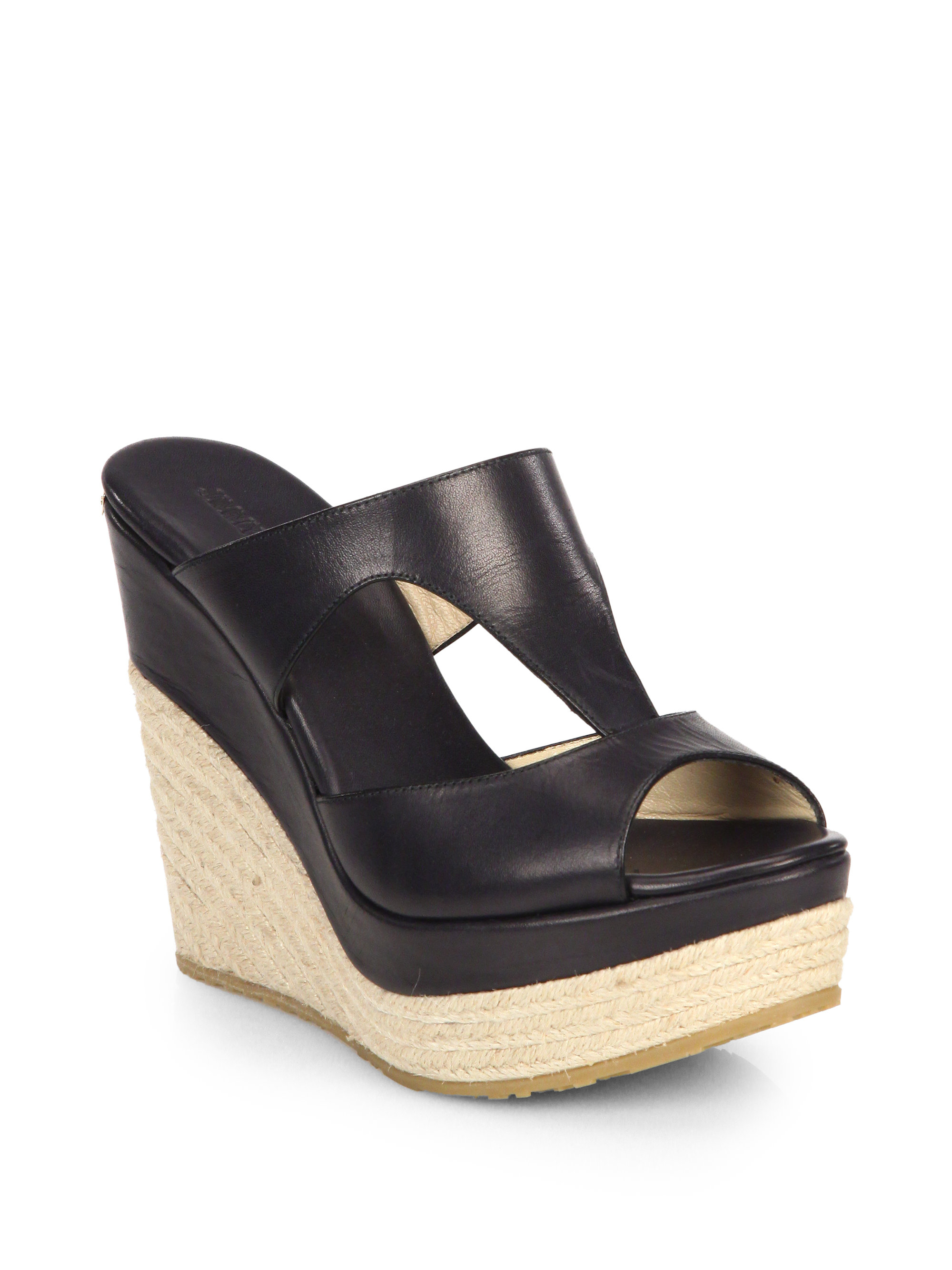 7407fe6052431 ... czech lyst jimmy choo cut out leather platform wedge espadrilles in  black f47e4 d3c61