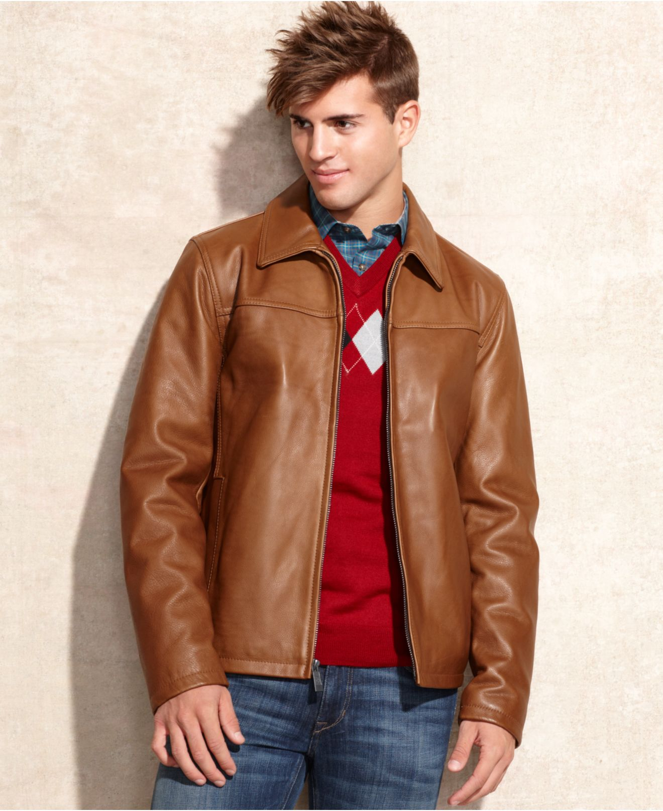 Vince Camuto Leather Jacket In Brown For Men Lyst