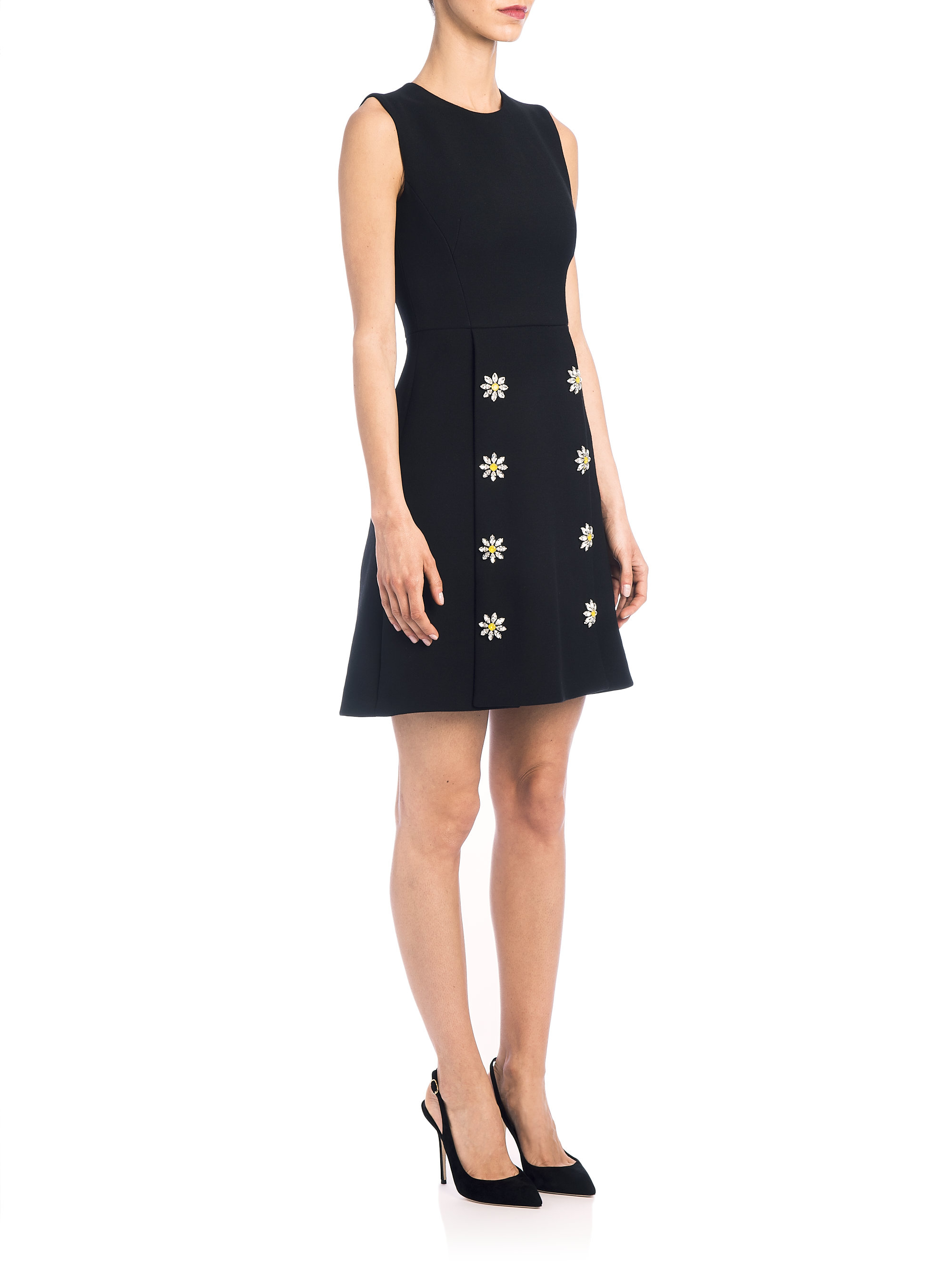 lyst dolce amp gabbana wool crepe buttonfront dress in black