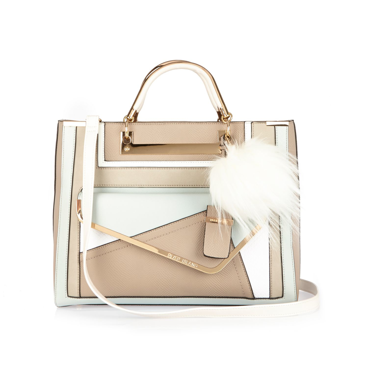 216e0348e3 River Island Paneled Faux-Leather Tote in Natural - Lyst