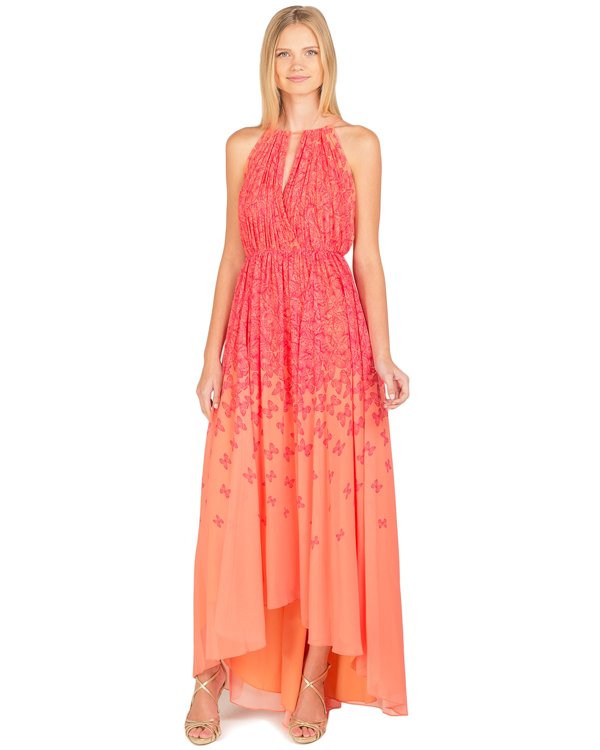 Badgley mischka high low butterfly evening gown in red lyst for Badgley mischka store nyc