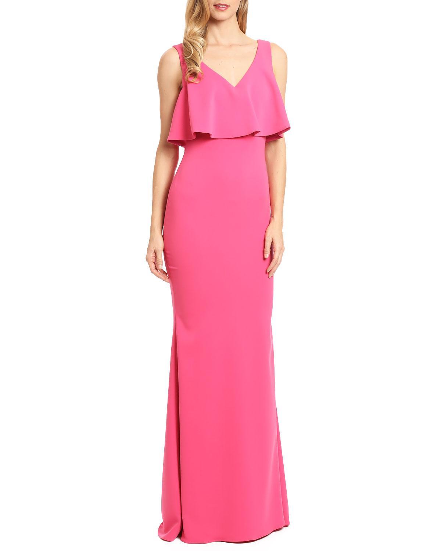 d37ba4c97a0d Badgley mischka Popover Ruffle Evening Gown in Pink   Lyst