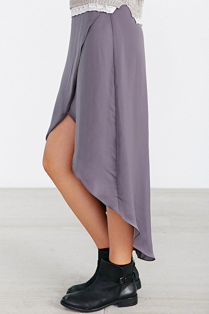 kimchi blue silky tulip high low midi skirt in gray lyst