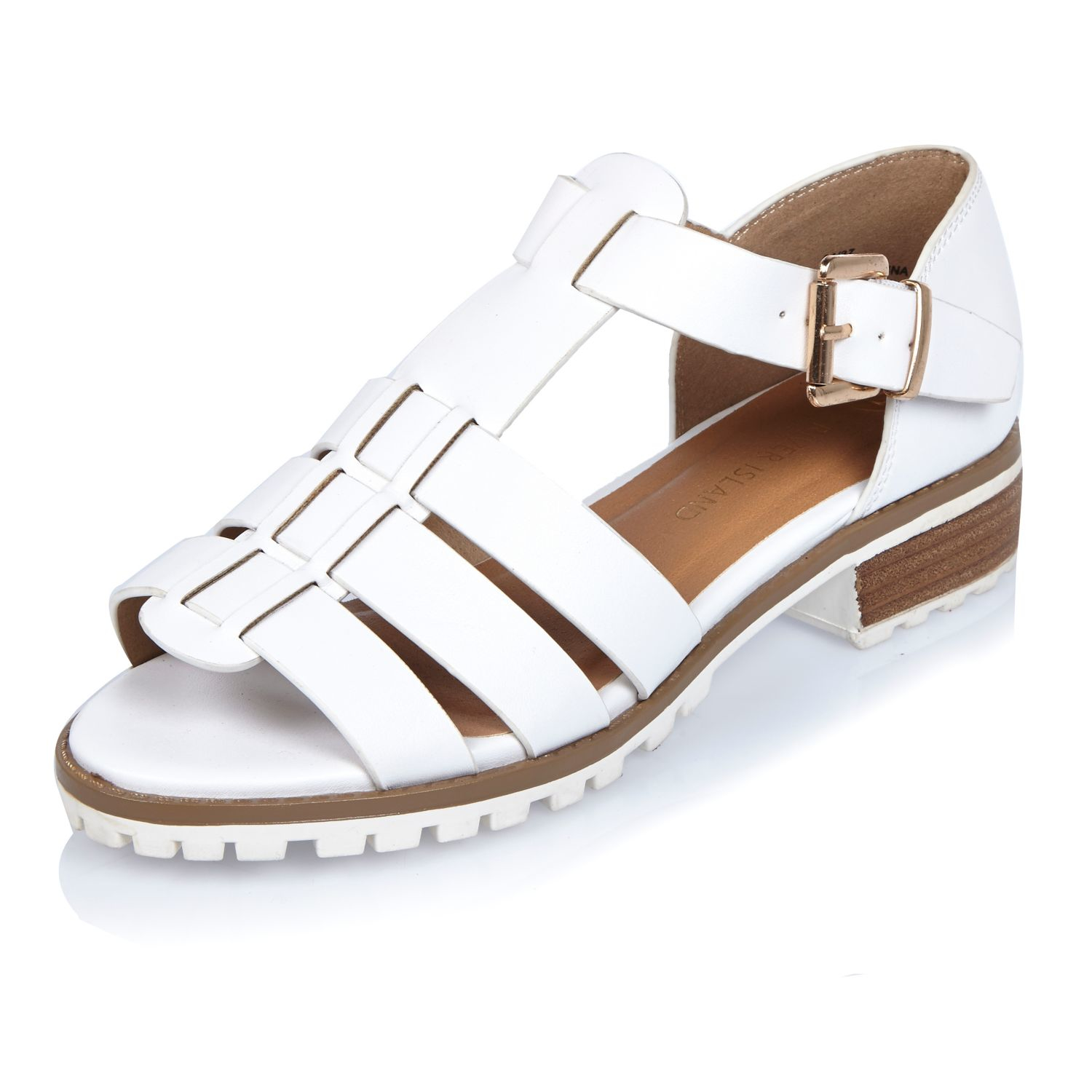 9c8abe2c92b Lyst - River Island White Strappy Open Toe Geek Shoes in White