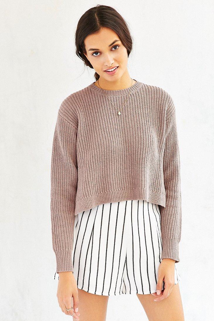 Kimchi blue Hayden Cropped Sweater in Brown | Lyst