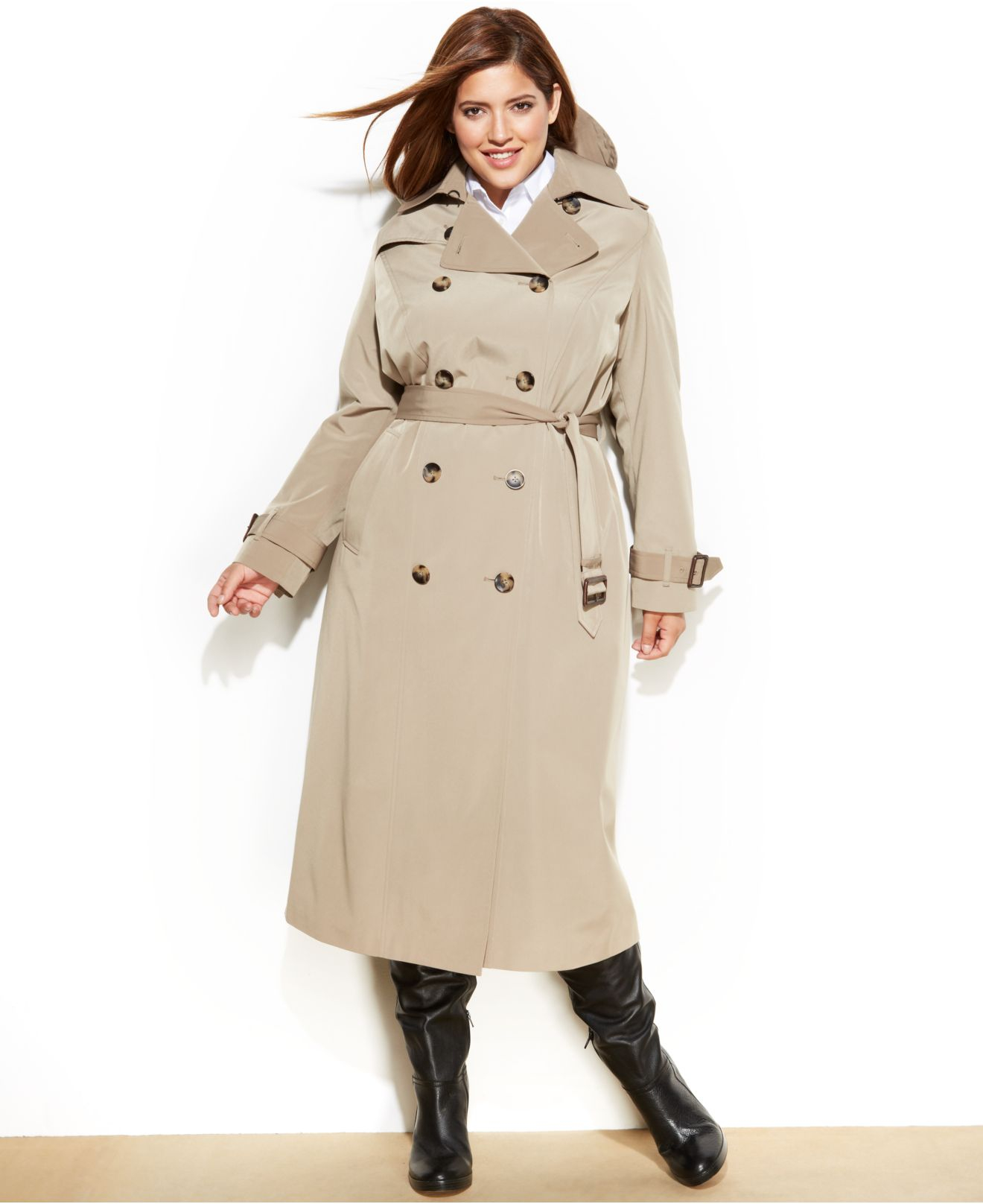 85d664f8aaa Lyst - London Fog Plus Size Long Trench Coat in Natural