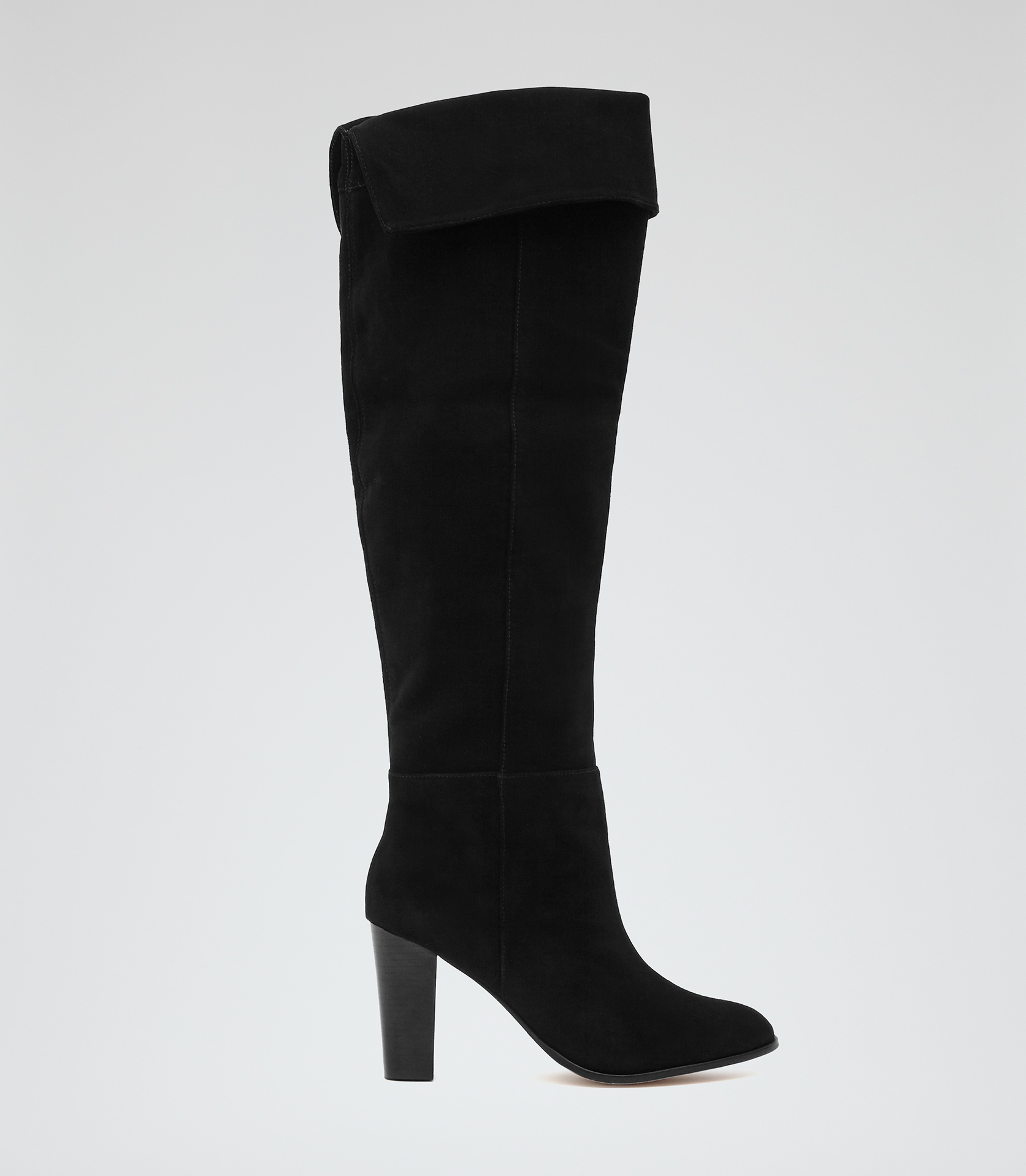 Reiss Vale Over-the-knee Suede Boots in Black | Lyst