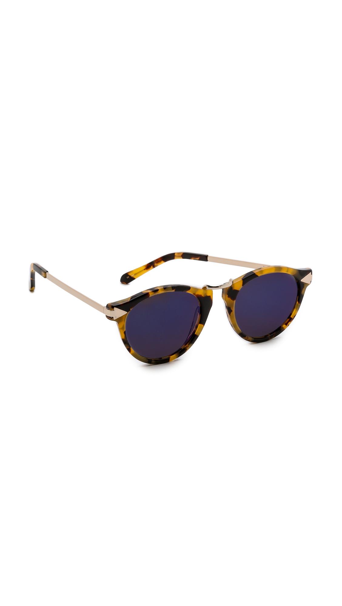 Karen Walker Superstars Collection Helter Skelter Mirrored Sunglasses - Crazy Tort/blue Revo in Brown