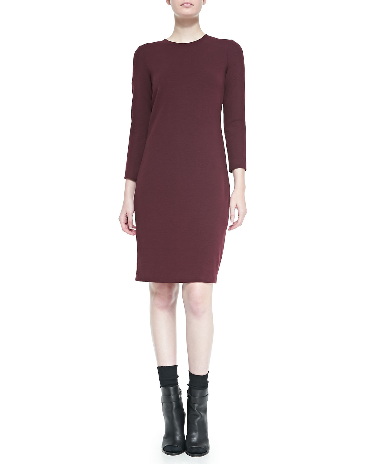 Sheath Dress With 34 Sleeves   www.galleryhip.com - The Hippest Pics