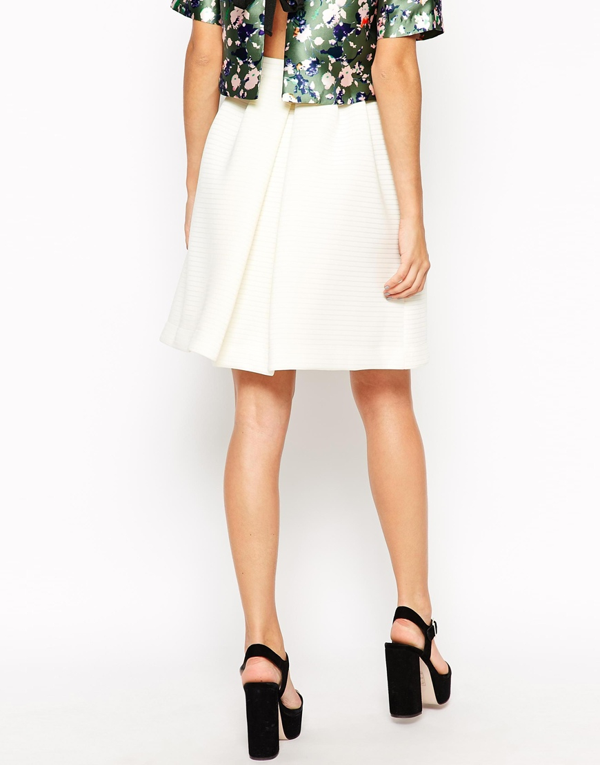 Dahlia A Line Skirt With Pockets In Stripe Neoprene in White | Lyst