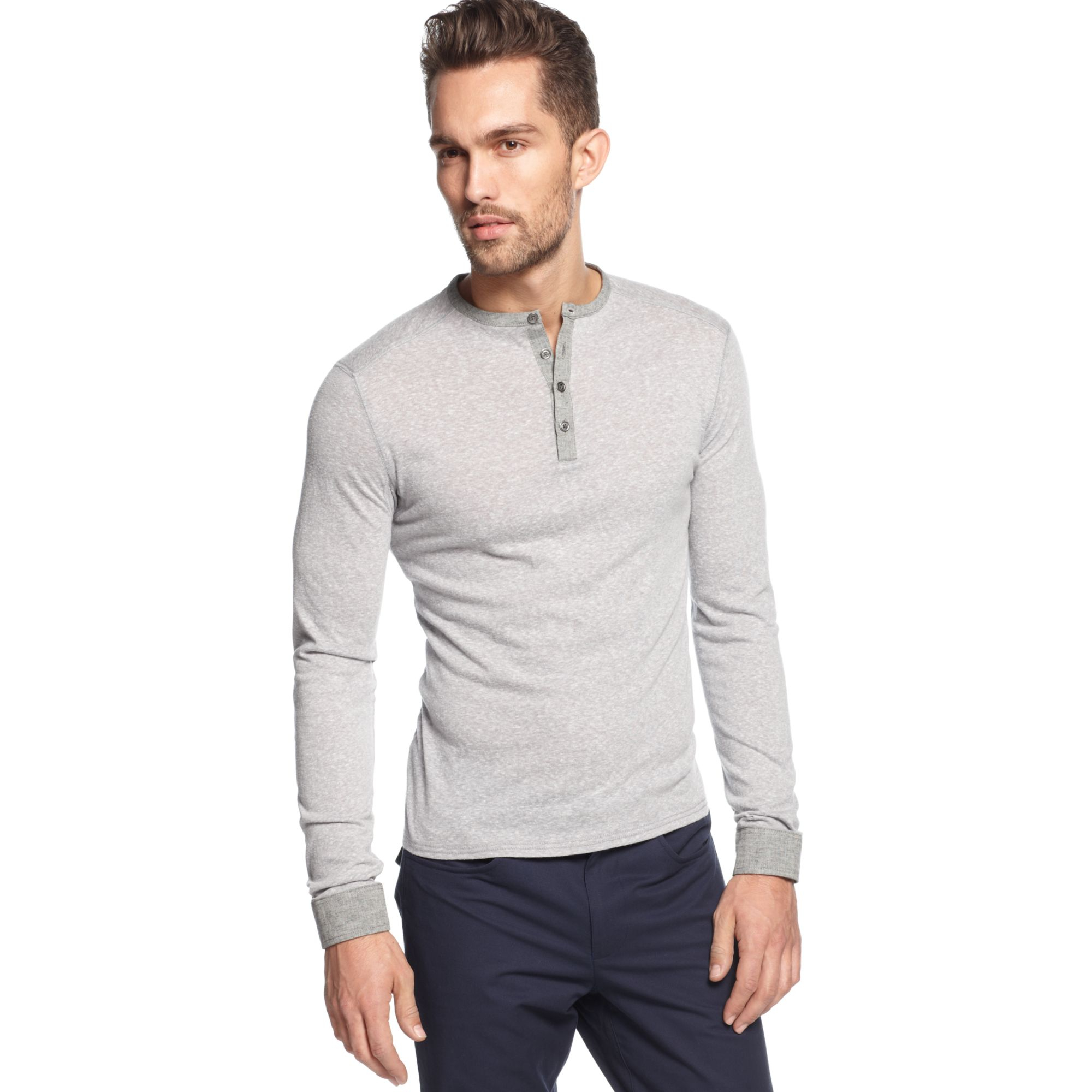 Vince Camuto Slimfit Longsleeve Henley Shirt In Gray For