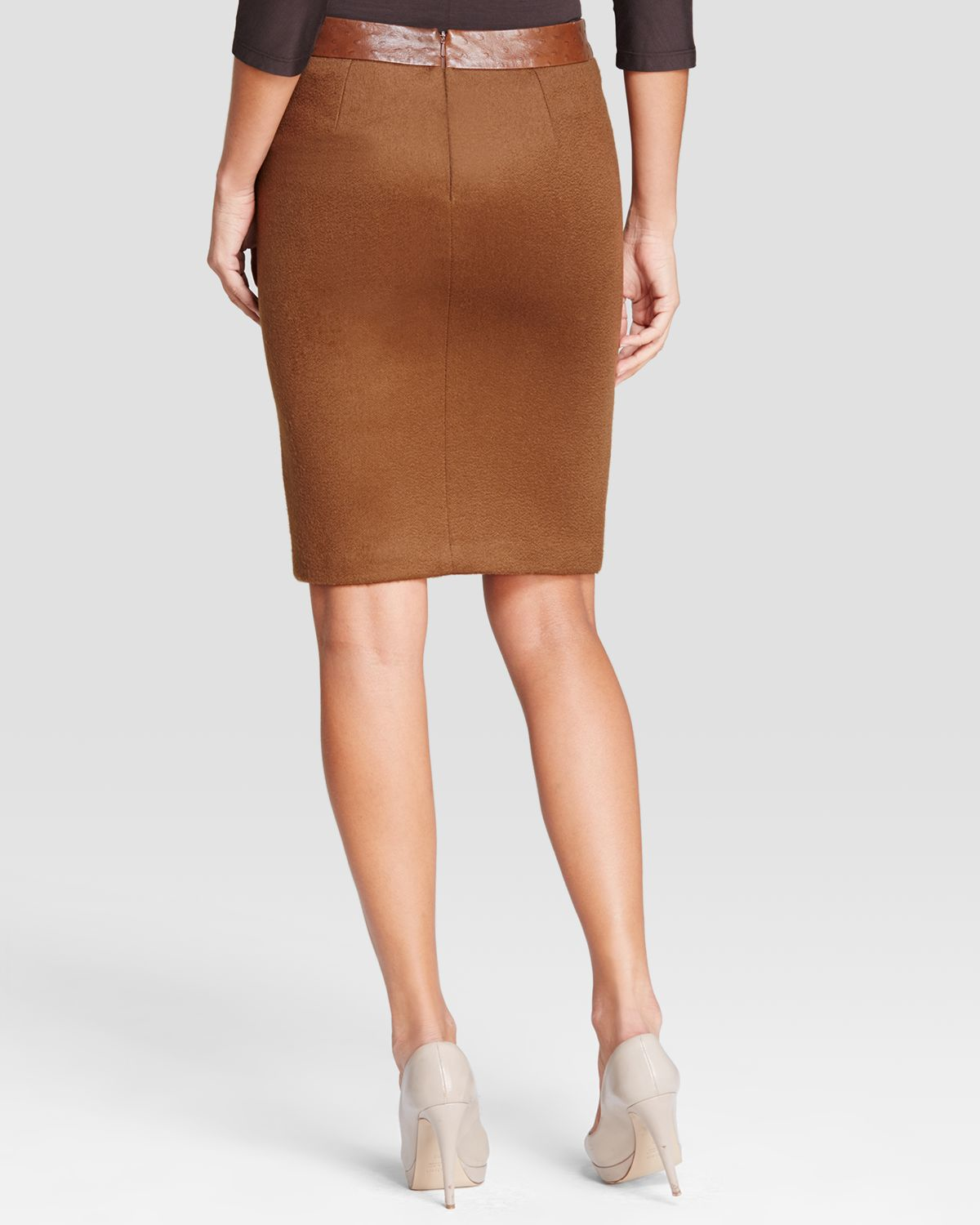 Max mara Ecuba Ostrich Embossed Faux Leather & Jersey Skirt in ...