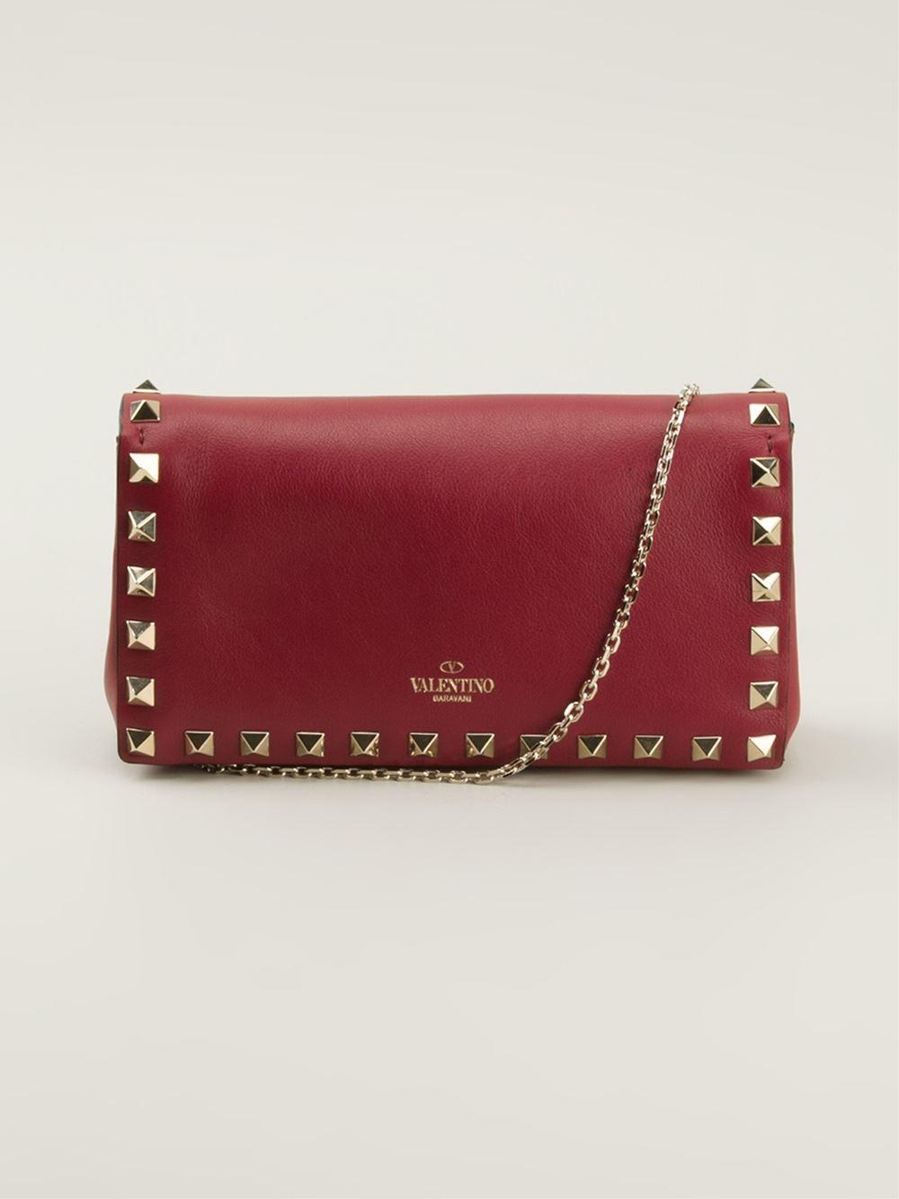 lyst valentino mini rockstud chain shoulder bag in red. Black Bedroom Furniture Sets. Home Design Ideas