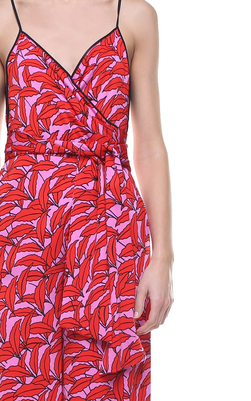 aa333362776 Diane von Furstenberg - Red Barry Windsor Palm-print Viscose-blend Jumpsuit  - Lyst. View fullscreen