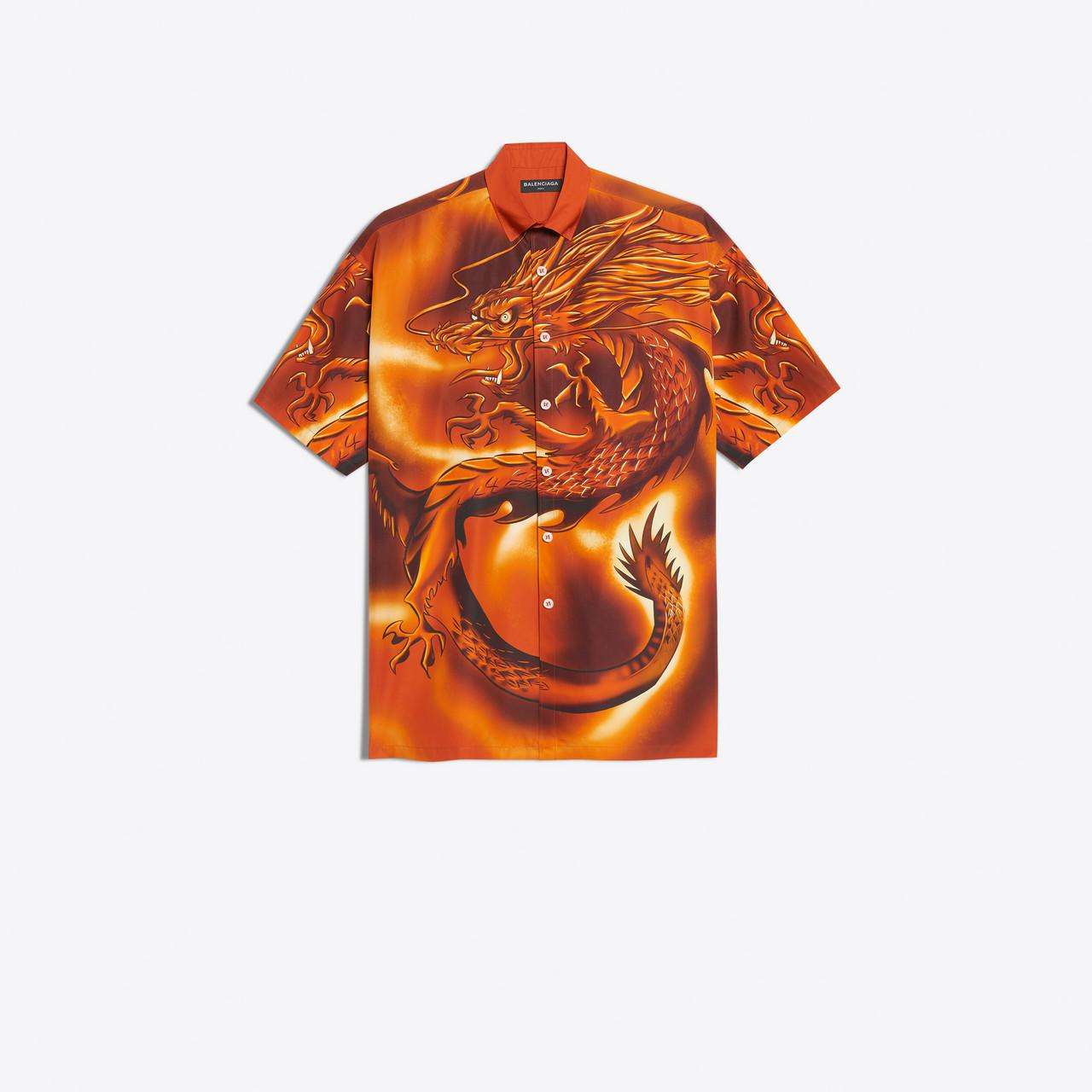 ecc10aedc Balenciaga Big Short Sleeves Shirt Dragon in Orange for Men - Lyst
