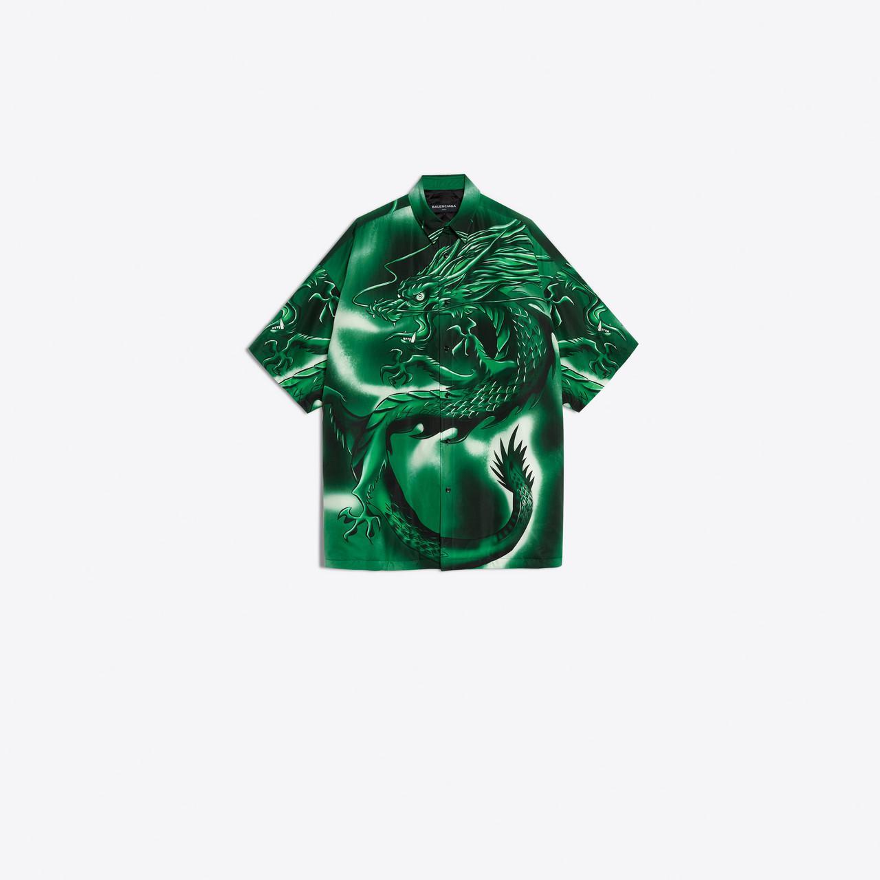 9fafad26a Balenciaga Bal Dragon Shirt in Green for Men - Lyst