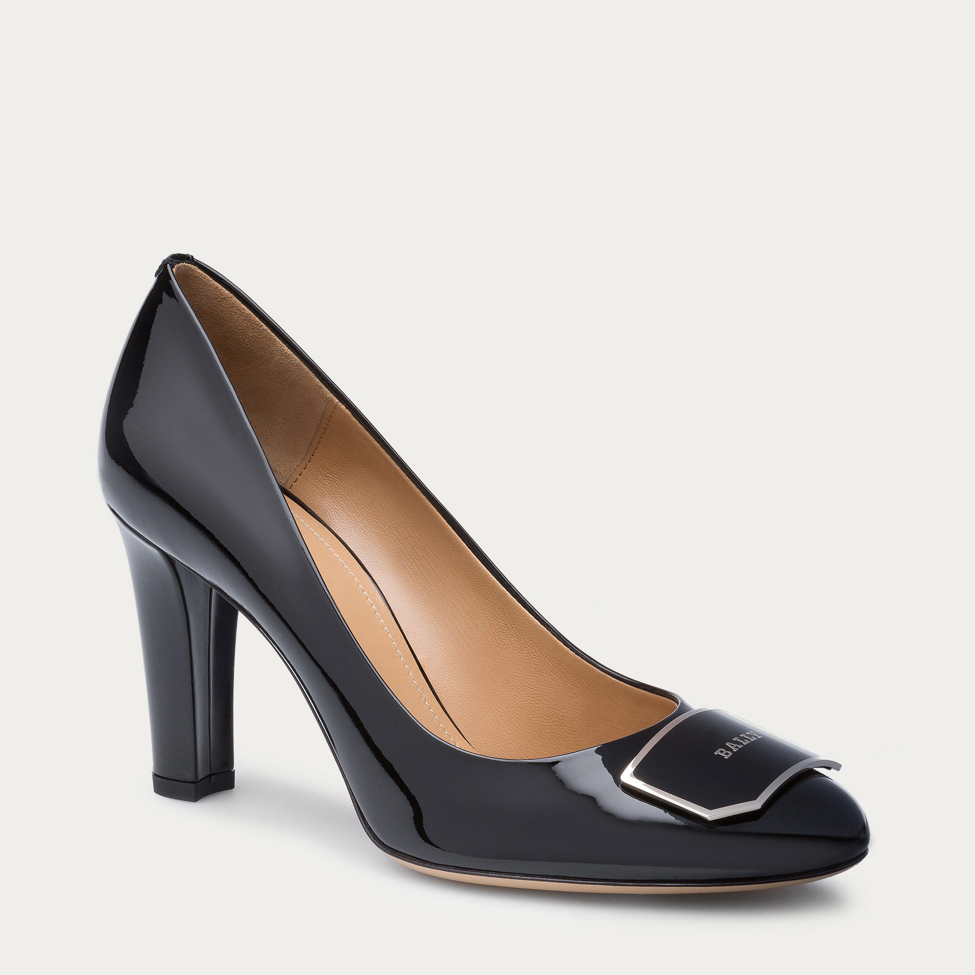 bally harmoni s patent leather heel in black in