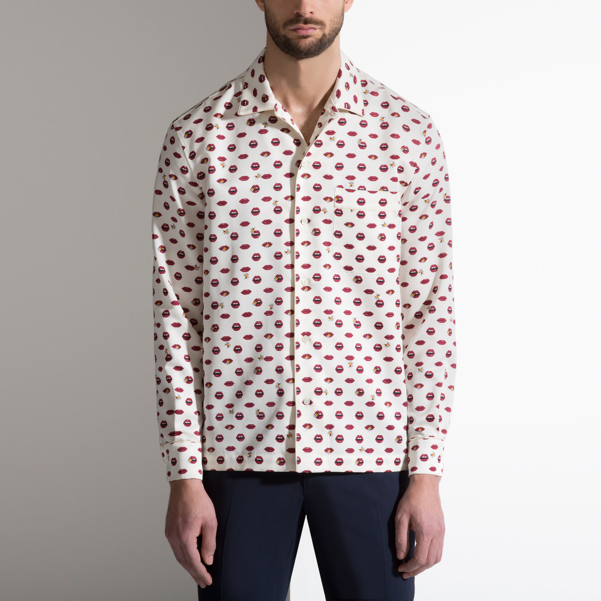Bally Lip Print Silk Pyjama Style Shirt For Men Lyst