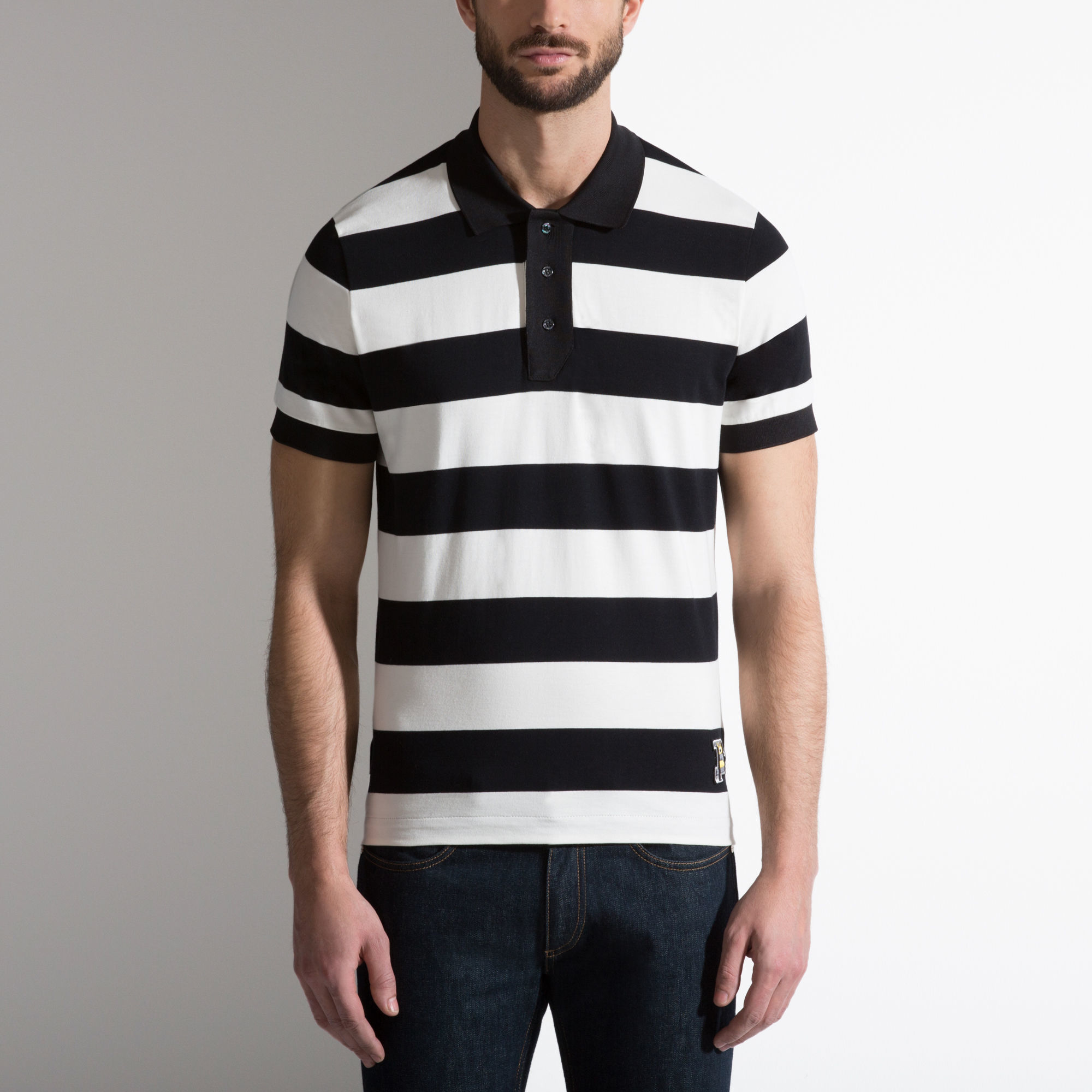 Bally Striped B Patch Polo Shirt In Black Cotton Jersey