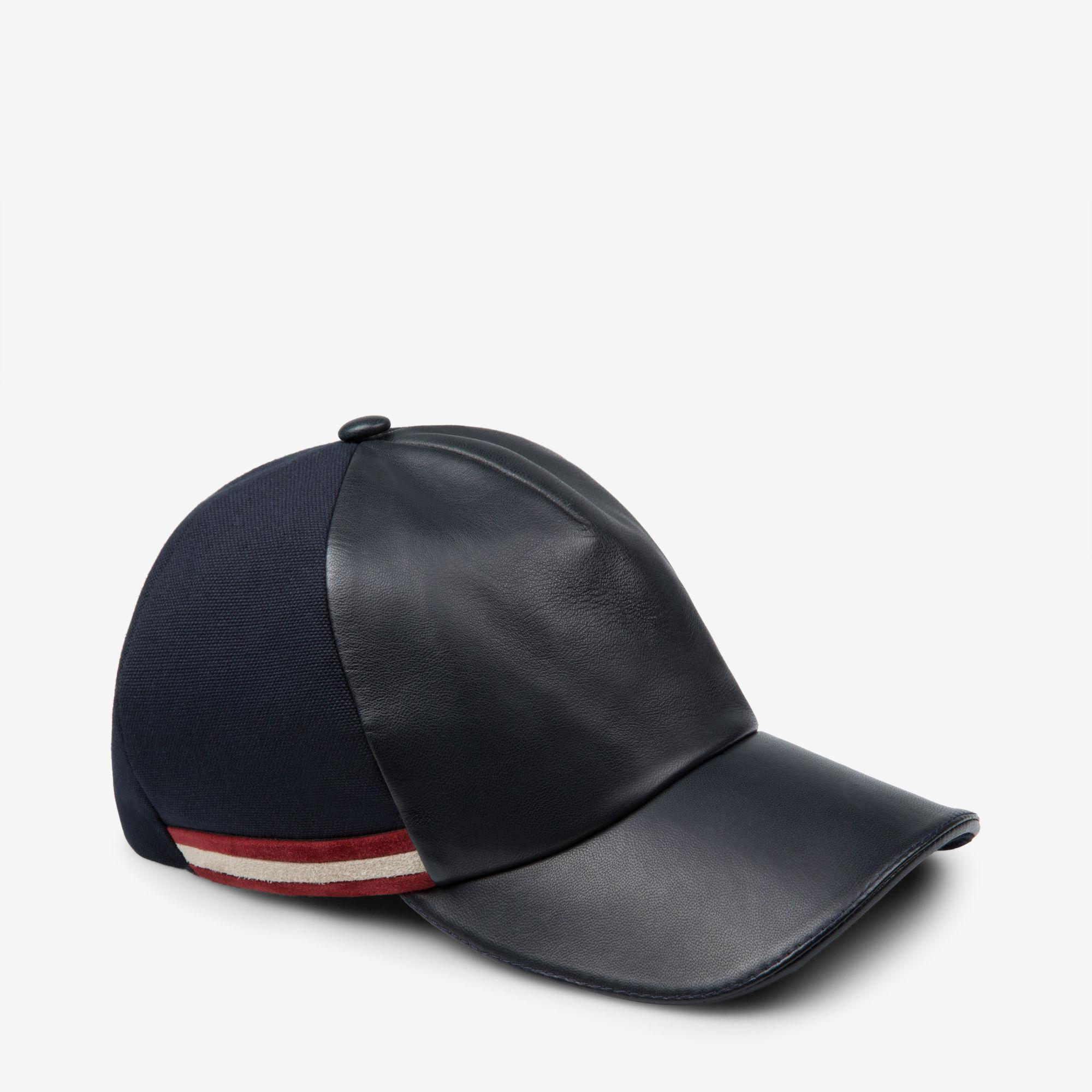 2a726860dc2 Lyst - Bally Leather And Canvas Casual Cap in Blue for Men