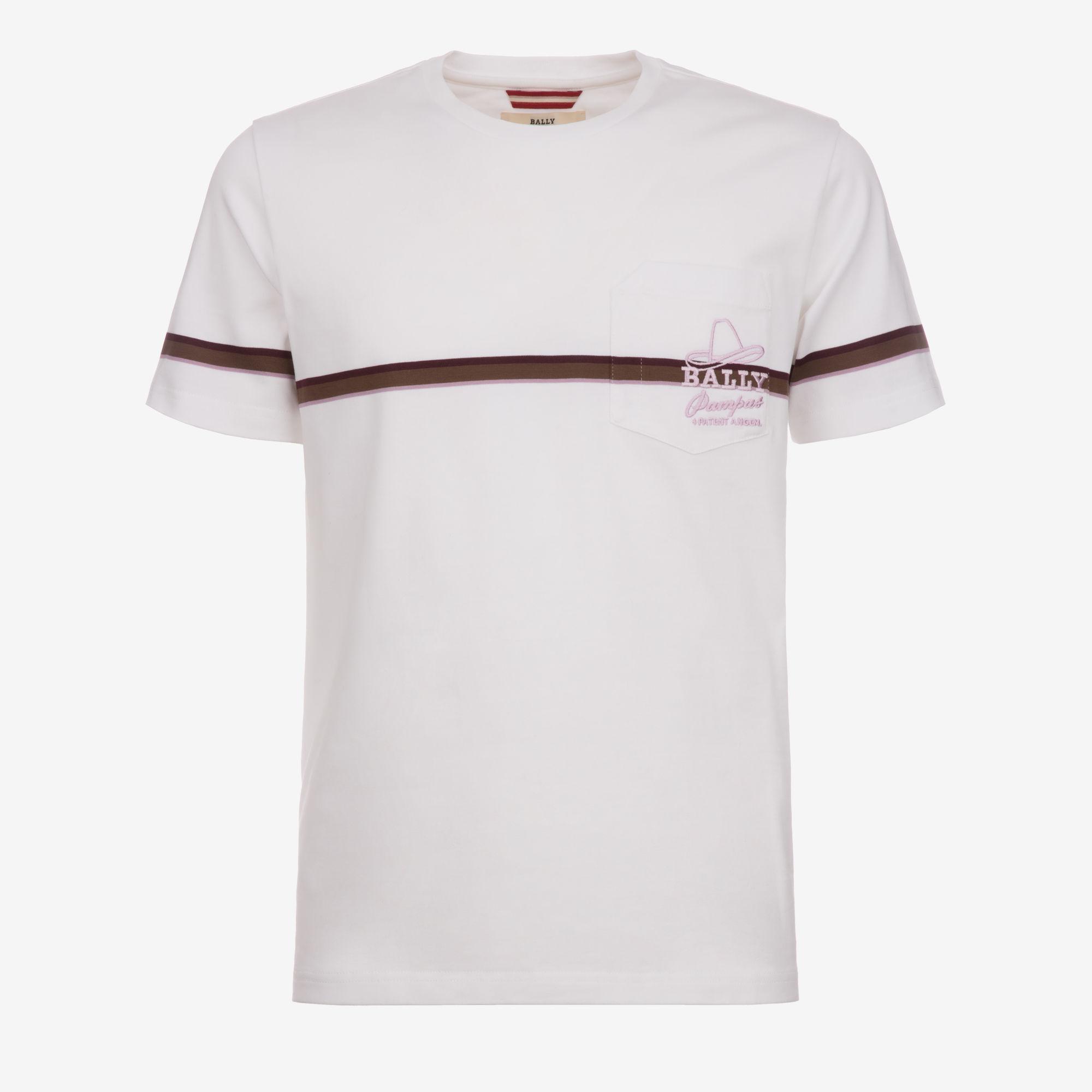 Lyst Bally Stripe Detail T Shirt In White For Men