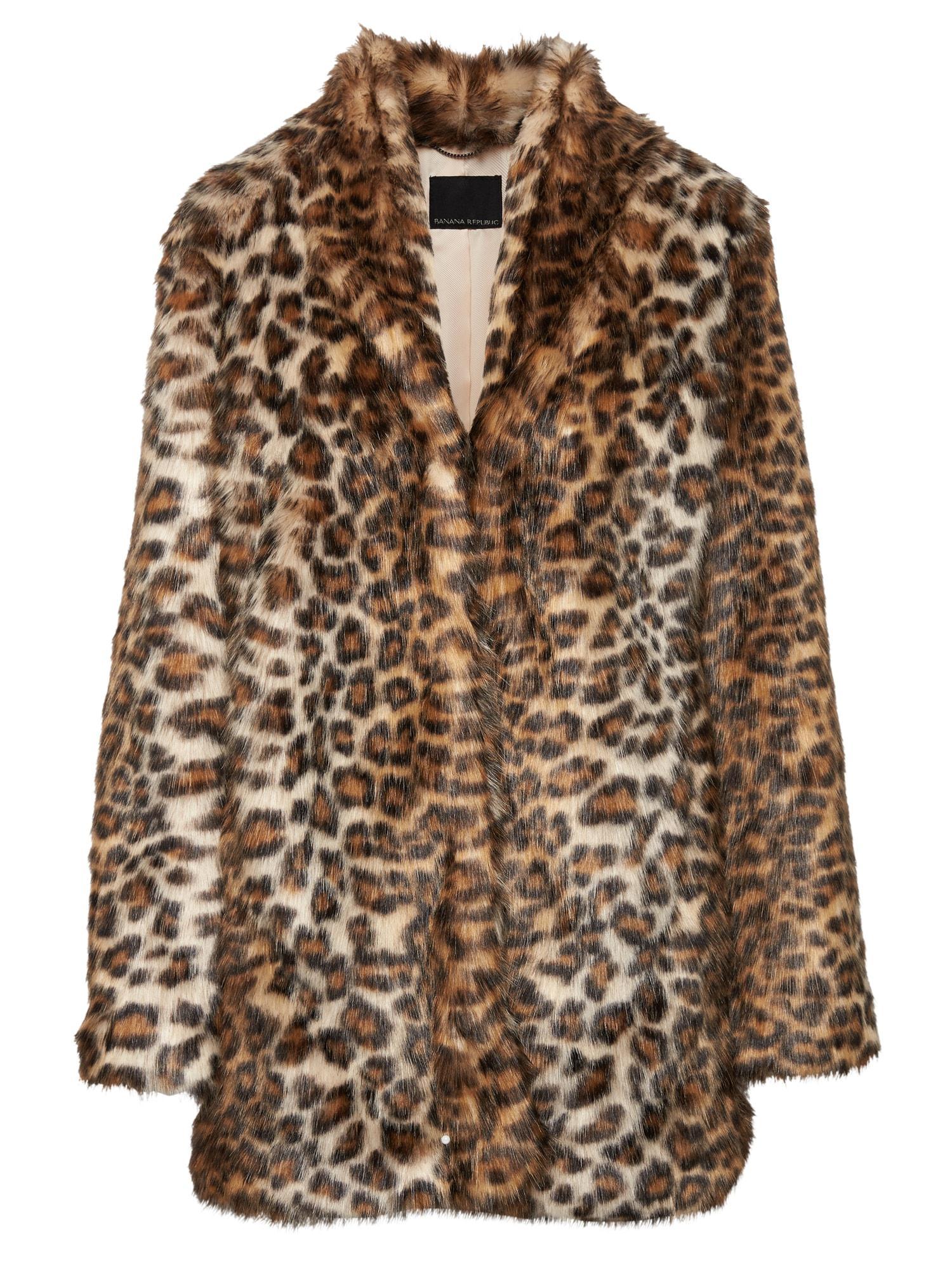 42a97c79dbd Lyst - Banana Republic Leopard Print Faux Fur Coat in Brown