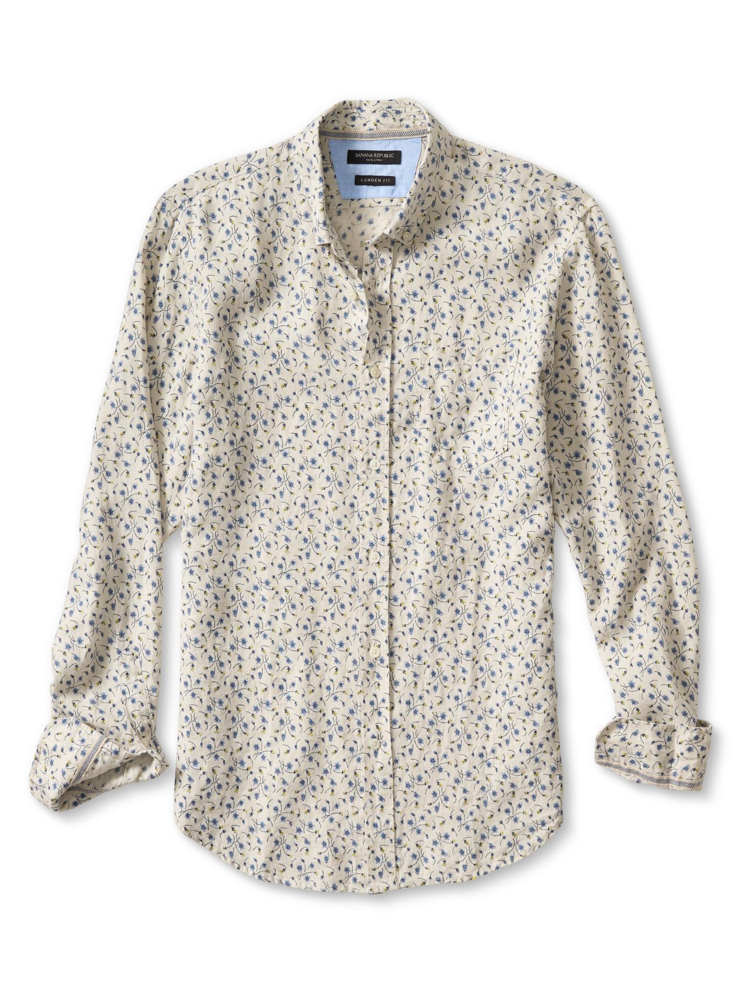 Banana Republic Camden Fit Floral Linen Shirt In Natural