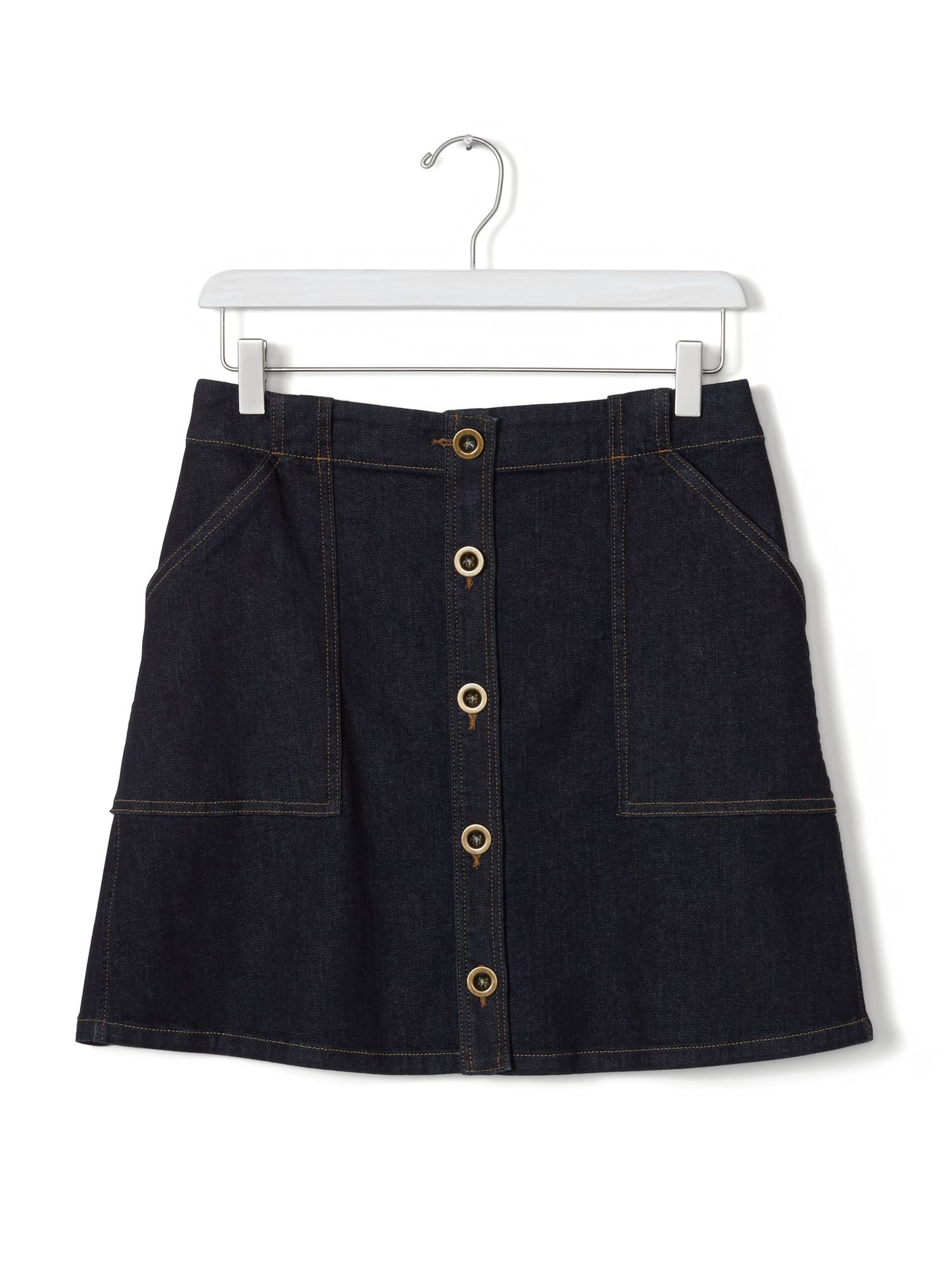 banana republic button front denim skirt in black