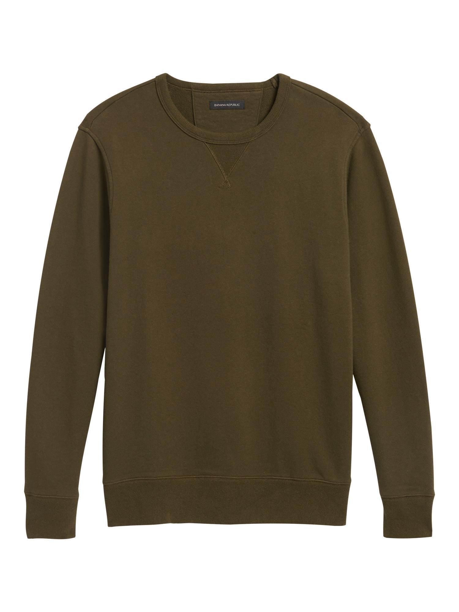 Banana Republic Terry Crew Sweatshirt Lined Green